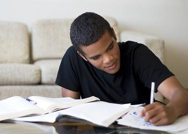 Photo of a male student studying