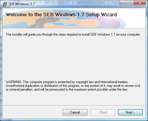 screen grab pf SEB Windows 1.77 Setup Wizard