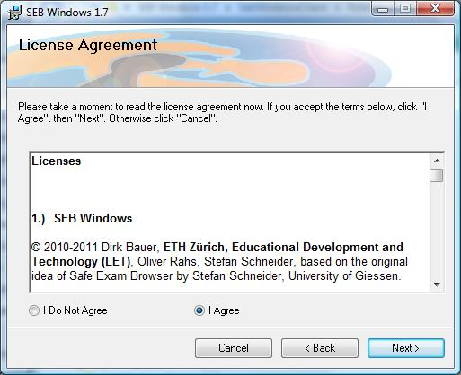 screen grab of SEB license agreement